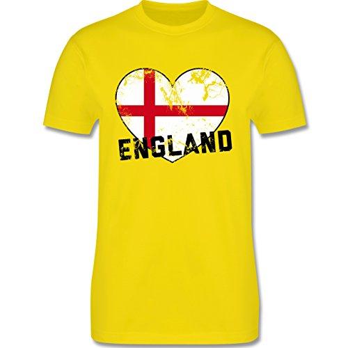 EM 2016 - Frankreich - England Herz Vintage - Herren Premium T-Shirt Lemon Gelb