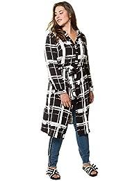 22b4686104ca2a Studio Untold Damen große Größen bis 54 | Hemdblusenkleid | Grafisches  Muster | Bindeband in der…
