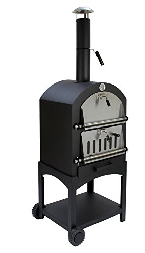 Vintage Gourmet (TM) 3-in-1 Outdoor Charcoal Wood Fired BBQ Grill Smoker Bread Pizza Oven with Pizza Stone