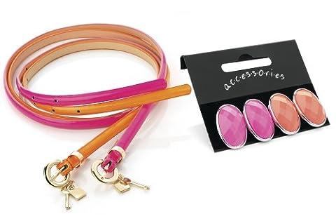 Womens /Girls Set of: 2 Orange & Purple Belts & 2 Pack of Peach & Pink Earrings **Jewellery**
