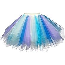 4446e37c63b6b0 Feoya Damen Kurz Retro Petticoat Rock Ballett Blase 50er Tutu Unterrock  Tütü Abschlussball Tanzkleid Party Minirock