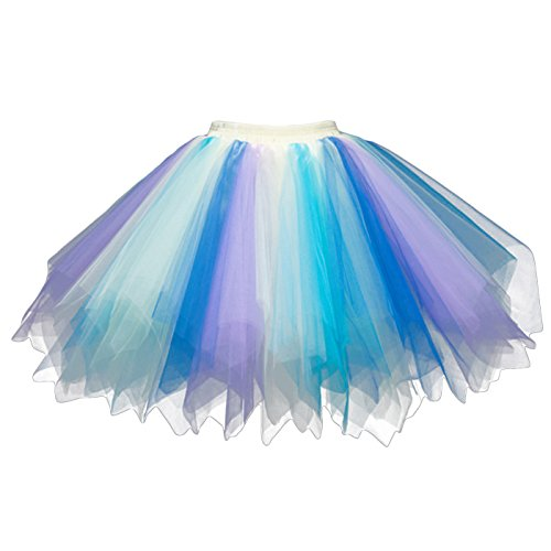Feoya Damen Kurz Retro Petticoat Rock Ballett Blase 50er Tutu Unterrock Tütü Abschlussball Tanzkleid Party Minirock Tüllrock