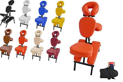 Mobiler Profi Massagestuhl / Tattoostuhl aus Aluminium in vielen Farben + Tragetasche mit Rollen + 100 Einwegauflagen für das Kopfpolster (Orange)