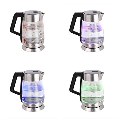 Edelstahl Wasserkocher 1,7 Liter Kabellos Glas Temperaturanzeige 2200 Watt Temperatur Einstellung (Überhitzungsschutz, Automatische Abschaltung, Temperaturregelung)