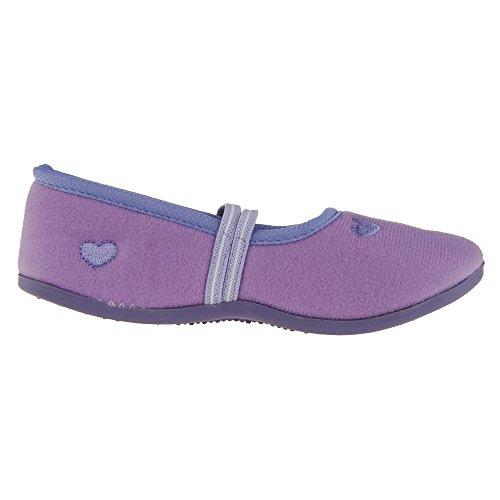 Mädchen Kinder Hausschuhe Kinderschuhe Puschen Slipper Fleece lila Herzmotiv Violett