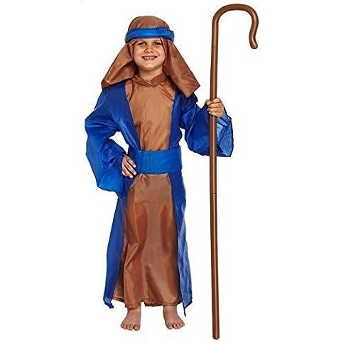 Bambini e bambine 5pezzi blu Pastore presepe costume 4–12anni - Bambino 4 Pezzo Presepe