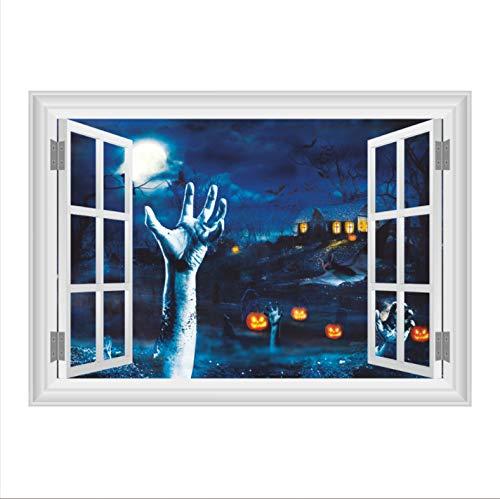 3D Horror Blut Hand Kürbiskopf Fenster Halloween Wanddekoration Wandaufkleber 50 * 70 Cm