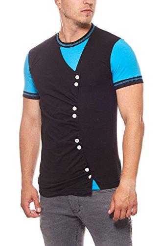 Preisvergleich Produktbild Rusty Neal Buttons Shirt Herren T-Shirt Freizeit-Shirt Schwarz mit Knöpfen