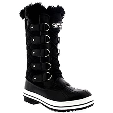 Womens Snow Boot Nylon Tall Winter Snow Waterproof Fur
