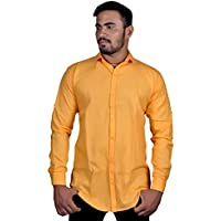 HADES men's casual plain yellow full sleeve slimfit shirt 100% cotton casual shirts for men-men's shirts formal branded(42W x 32L)