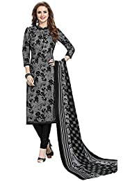 c019491f07 Salwar Studio Women's Grey & Black Pure Lawn Cotton Printed Salwar Suit  Material with Dupatta(