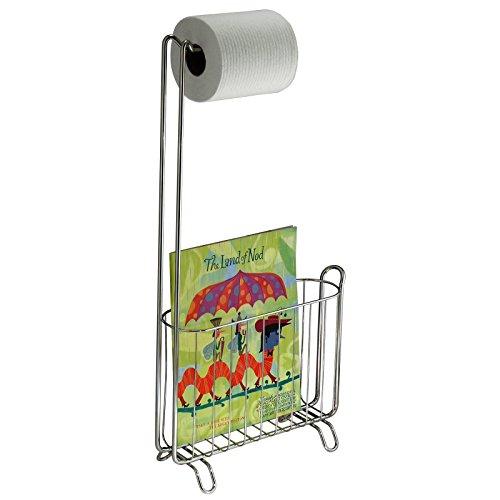 mDesign portarrollos de pie - Elegante dispensador de papel y revistero para su cuarto de baño - Color cromado