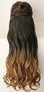 Extension per capelli con clip, pezzo unico, effetto ombré a due toni,51 cm, molti colori disponibili