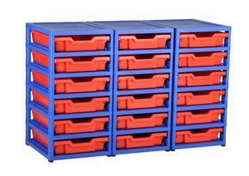 GratStack wide storage unit with 18 plastic Gratnells trays. by GratStack