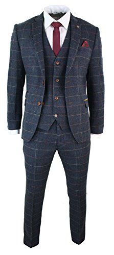 Mens-Navy-Blue-Wine-Check-Herringbone-Tweed-Vintage-3-Piece-New-Marc-Darcy-Suit