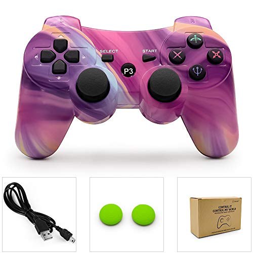dainslef PS3 Controller Wireless Bluetooth Double Shock Sixaxis Remote Gamepad für Sony PS3 Playstation (Graffiti) Aurora
