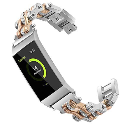 WAOTIER für Fitbit Charge 3 Armband Edelstahl Ketten Armband mit Kristall Strasssteinen Glitzer Armband für Fitbit Charge 3 Armband Damen Zweifarbige Ketten Eleganter Armband für Frauen (Roségold)