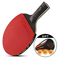 Walmeck 1PCS Evolution Performance-level Table Tennis Racket Approved Rubber Ping Pong Paddle with Balls Storage Pouch
