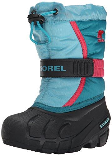 Sorel CHILDRENS FLURRY, Stivaletti da neve a gamba corta, imbottitura pesante Unisex - bambino, Blu (Blau (Aqua, Tango Pink 477)), 25