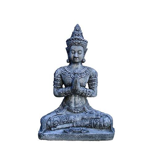 gartendekoparadies.de Massiver sehr großer SteinBuddha Thai dunkel-grau aus Steinguss frostfest