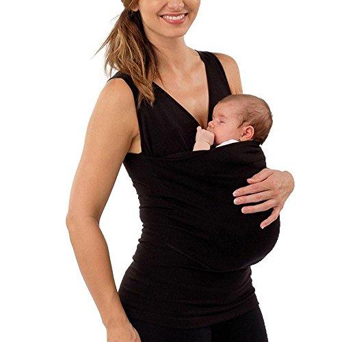 SOMESUN Babytragetuch Kindertragetuch Tragetuch Tragehilfe Bio-Baumwolle für Früh- und Neugeborene Kinder Papa Herren Multifunktionale Kangaroo Baby Carrier Holder T-Shirt Frauen Weste (XL, Schwarz)