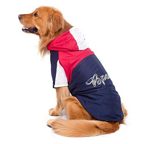 BPS® Chubasqueros Impermeables para Mascotas Perros, Impermeables con Capucha para Perro Mediano y Grande 3 Colores para Elegir con Material 100% Poliéster (Rojo+Azuloscuro, 70cm) BPS-9107RJ
