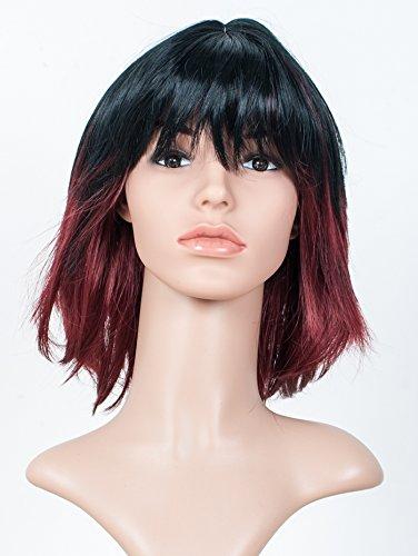 Sommer International GmbH Perücke, Haarfarbe schwarz/rot (Schulterlang, ca. 35 cm)