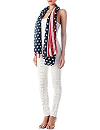 Soft Chiffon Feel Ladies Unisex Union Jack USA Stars & Stripes Flag Fashion Shawl Scarf 155cm x 55cm by Fat-Catz-copy-catz