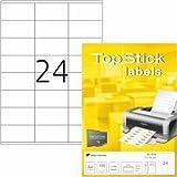 topstick Universal-Etiketten Papier weiß Selbstklebend 70x36mm 100 Blatt=2400 Etiketten
