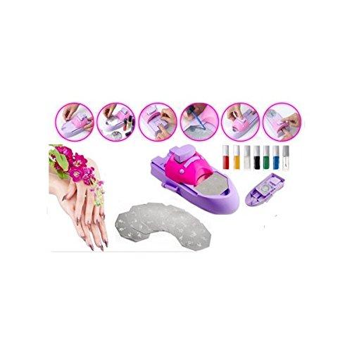 Máquina Infantil Decora uñas, color rosa - 45 diseños , incluye 7 esmaltes mws517