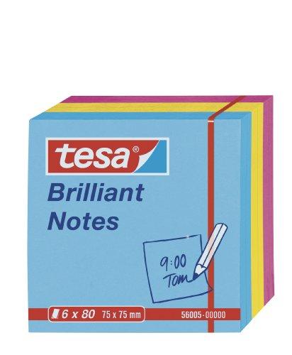 tesa Notes Haftnotizen, 6 x 80 Blatt, blau/gelb/pink, 7,5cm x 7,5cm