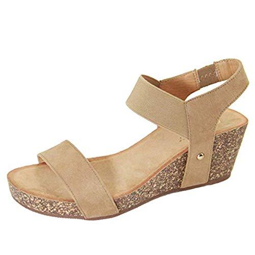 Wawer Damen Wedges Schuhe Mode Sandalen Leopard Plateau Toe High-Heels Sandalen Freizeitschuhe Abendschuhe Frauen Römersandalen Schuhe