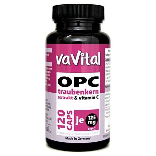 OPC 125 mg je Kapsel, Traubenkernextrakt + Vitamin C | 120 Kapseln | 100{f5e318dff55fc0e59608d78f5c57b46760e483346091d937901818e3c6722df5} Vegan | 2 Monatsvorrat | hergestellt in Deutschland | Premium Produkt - vaVital