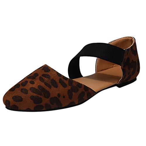 Strungten Schuhe für Frauen Round Toe Platform Strap Flache Ferse Schnalle Leopard Sandalen Casual Gummiband Spitzen Schuhe