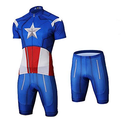 JERSEY Marvel Series Avengers Fahrradbekleidung Set Kurzarm Fahrradanzug Fahrradanzug Atmungsaktiv Bequem Schnelltrocknend Reiten Sportbekleidung 6-XL