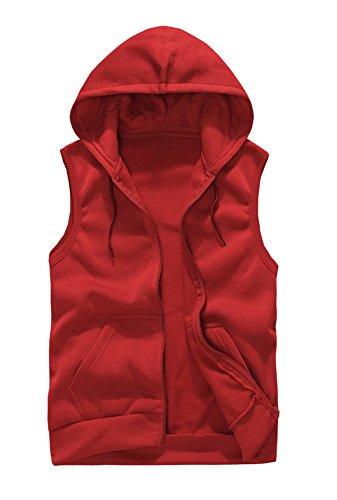 Herren Ärmelloses Hoodie Weste Kapuzenpullover Sweatshirt Sport Tops Kapuzensweatshirt Mit Reißverschluss Rot XL (Herren-pullover Rot Weste)