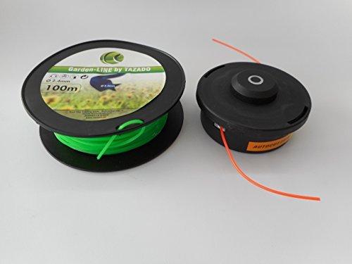 Fadenkopf Schneidkopf wieder aufladbar für Motorsense + 100m 6-kant Faden 2,4mm hohe Schneidleistung. Fadenkopf leicht und schnell wieder bestückbar.