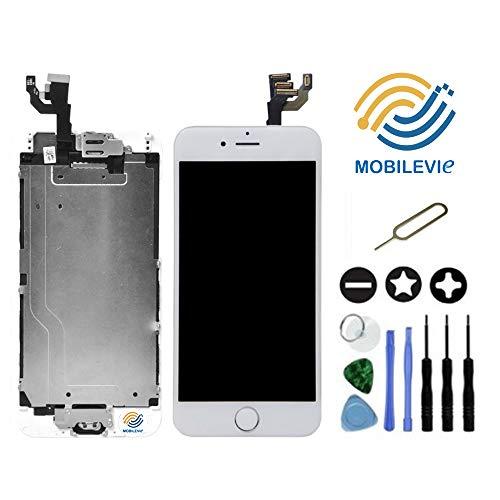 Mobilevie Ecran LCD Retina + Vitre Tactile Tout Assemblé Complet sur châssis pour Iphone 6 Blanc + Outils
