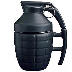 Idea Regalo - Ducomi Granata - Tazza Colazione per Cappuccino, Caffè e Tè in Ceramica - 280 ml - Tazza a forma di Granata con Coperchio - Originale e Divertente Idea Regalo - Concediti una Merenda col Botto (Black)