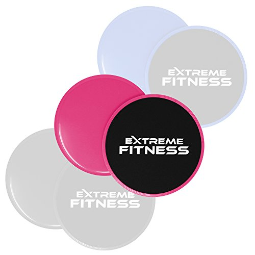 Extreme Fitness® Gliding Discs Core Sliders - Dual Sided Use on Carpet or Hard Floors - Abdominal Exercise Equipment (Pink)