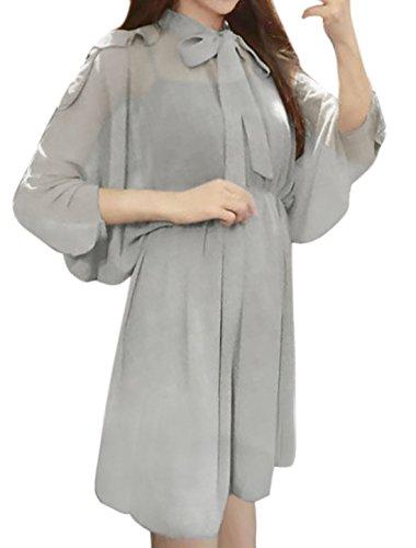 sourcingmap Femme Taille Élastique Lien Cou Manches chauve-souris Semi-transparente Robe Tunique Gris