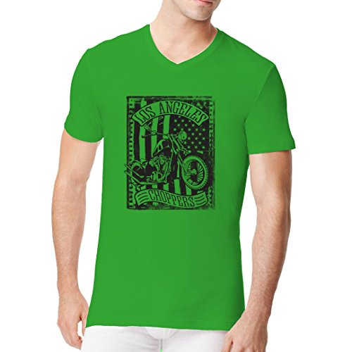 Biker Männer V-Neck Shirt - Los Angeles Choppers by Im-Shirt Kelly Green