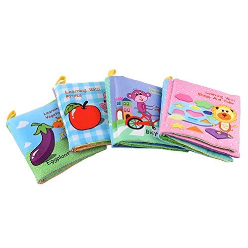 Libro Blando Libro de paño Libro de Tela TOYMYTOY Juguetes Aprendizaje y Educativo para Bebé - 4 Piezas