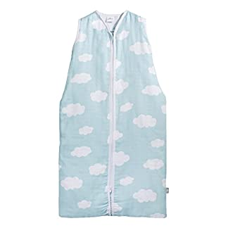 Jollein 048–516–65055Saco de dormir Verano 90cm, Mull Clouds Jade