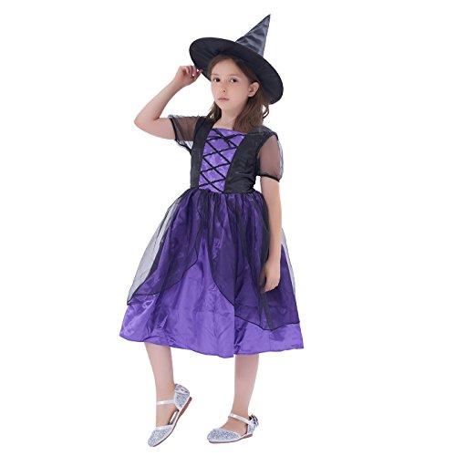 (IKALI Hexe Kostüm für Kinder Mädchen, Halloween Karneval Party Kleid mit Hut)
