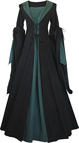 Dornbluth Damen Mittelalter Kleid Milienn Schwarz (36/38, Schwarz-Dunkelgrün)