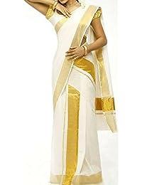 Infant Yogi™ Kerala Powerloom Kasavu Set Mundu- Double,Mundu&Veshti, Kasavu Mundum Neriyathum Set,Premium Quality