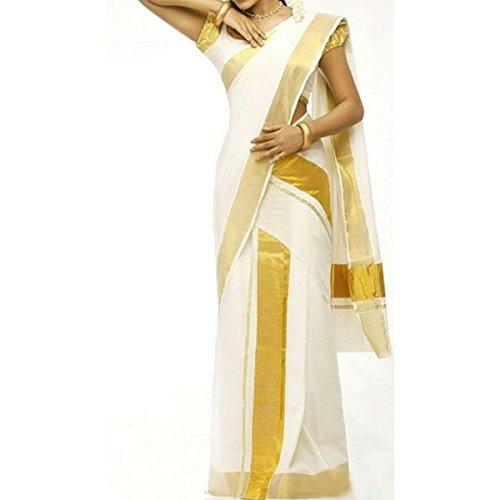 Infant Yogi™ Kerala Powerloom Kasavu Set Mundu- Double,Mundu&Veshti, Kasavu Set Saree,Premium Quality...