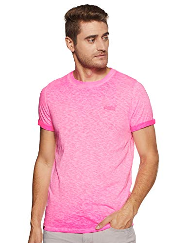 Superdry Herren Low Roller Tee T-Shirt, Pink (Deep Pop Pink Ps4), Large (Herstellergröße: L)