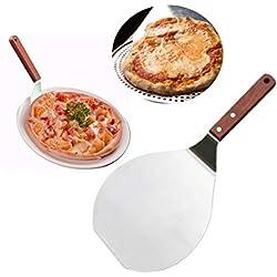 Hebudy Pizza Paddle Pelle à pizza ronde Acier inoxydable Pelle à Gâteau avec manche en bois pour le pain Cuisson du gâteau 7 pouces sur Pizza Stone Four et Grill